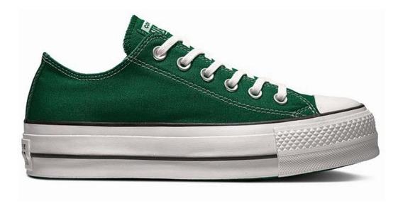 Zapatillas Converse All Star Plataforma Verde Exclusiva Dama