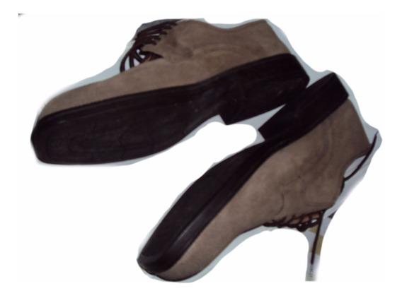 Sapato Couro E Camurça Bico Quadrado Tamanho 44