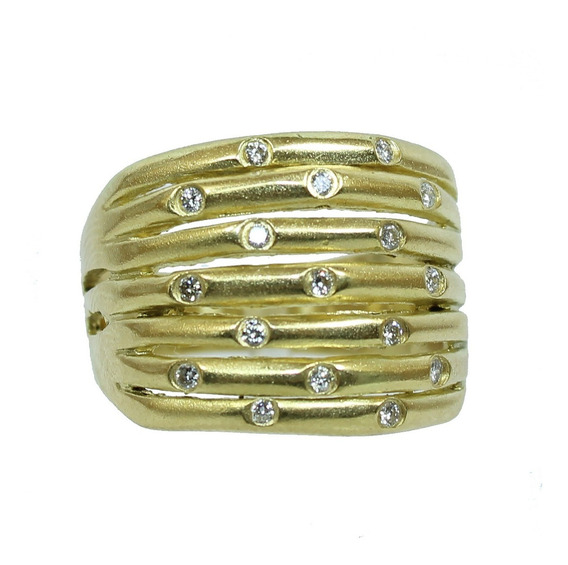 Pocao2005- Anel De Ouro 18k750 Diamantes 12x S/j Ft/gt 1125