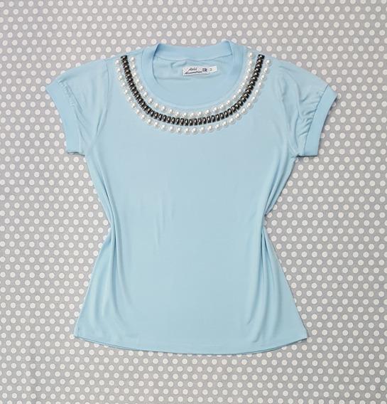 T-shirt Blusinha Feminina Rosa Viscolycra Bordado Pedraria