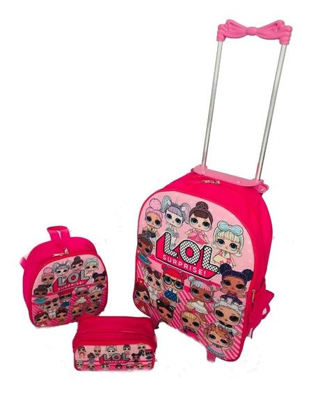 Kit Mochila Infantil Rodinha Lol Surprise + Potes