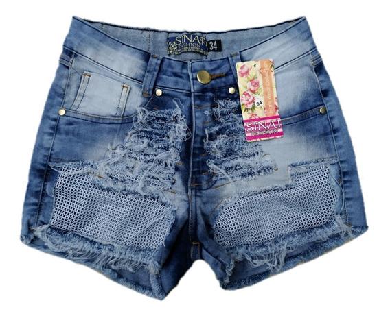 Shorts Jeans Feminino Cós Médio Com Lycra
