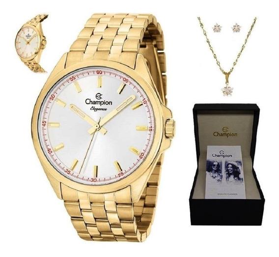 Relógio Feminino Champion Dourado Colar Brinco Cn27705w
