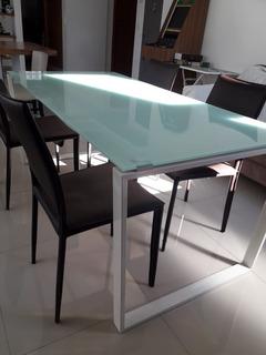 Mesa De Comedor En Vidrio Y Caño