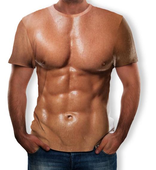 Camiseta Diseño De 3d Impresión De Músculo Abdominal Hombres