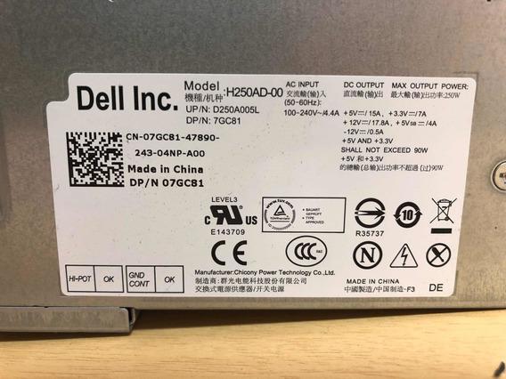 Fonte Dell Optiplex 390 790 990 250w 07gc81 7gc81 Bivolt