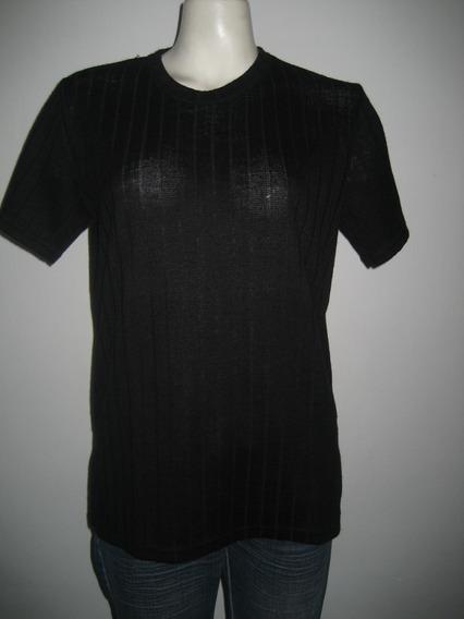 Remera De Hilo Color Negro Talles Grandes Especiales