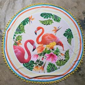 Canga Redonda, Saída De Praia, Moda Praia, Flamingo Floral
