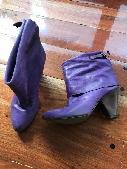 Botas Cuero Violeta 39 Meena By Perugia