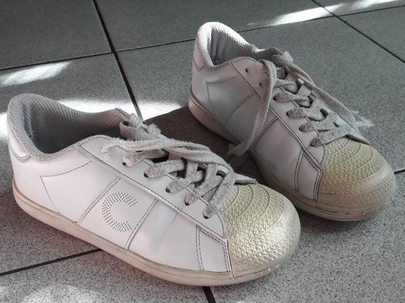 Zapatillas Cheeky Ecocuero Blancas Talle 32 - Buen Estado!