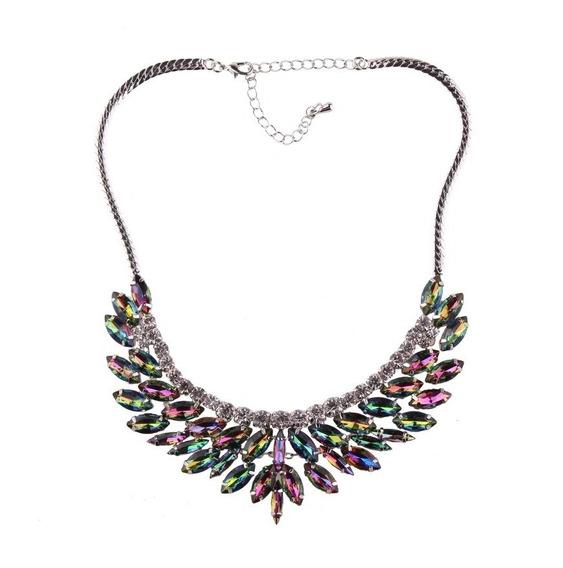 Bello Collar Cristal Multicolor Moda Maxi Boda Evento Regalo