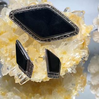 Conjunto Aros Y Prendedor De Plata 925, Ónix Y Diamantes Neg
