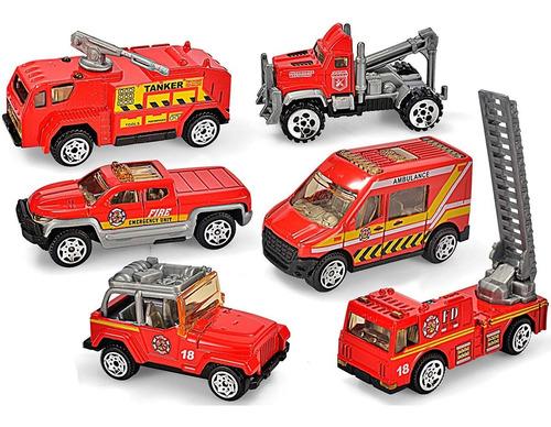 Kit 6 Carrinhos De Bombeiros Fire Rescue 1:64 Die Cast Metal