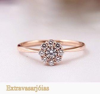 Anel De Ouro Rosé18k E Diamantes