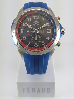 Reloj Feraud Cronometro Sumergible Acero Silicona Nuevo Homb
