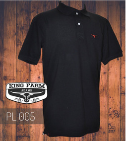 bf2fd21fd0 Camiseta Polo Masculina King Farm Preto Pl005