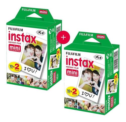 Kit 2 Filmes Fujifilm Instax Borda Branca Com 20 Poses Cada