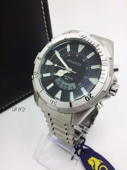 Relógio Atlantis Masculino A3482 Preto Analógico Digital