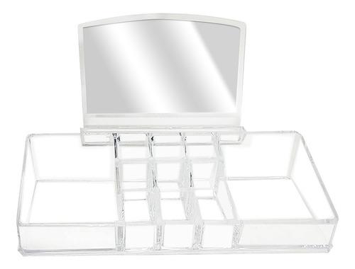 Porta Cosméticos De Acrílico Con Espejo + 11 Compartimentos