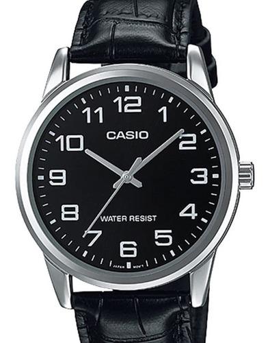 Relógio Casio Masculino Couro Preto Mtp-v001l-1budf Original Nota Fiscal