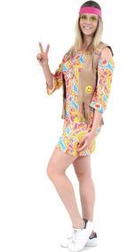Roupa Do Anos 70 De Luxo Hippie Adulto Feminina 36 Ao 48