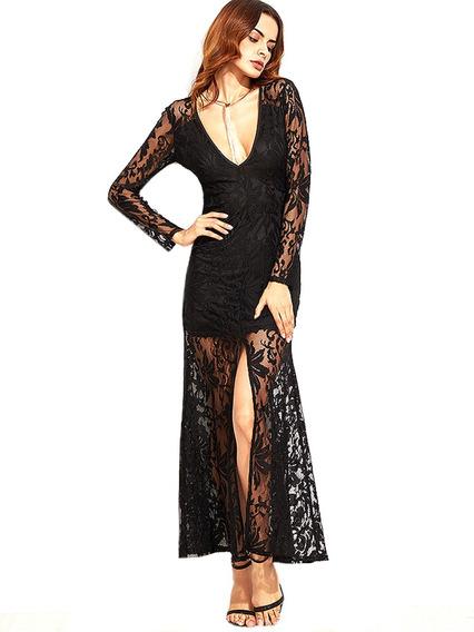 Vestidos De Fiesta Importado De Encaje Color Negro