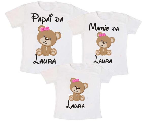 Kit 3 Camisetas Ursinhos