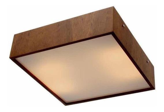 Luminária Plafon Quadrado Madeira 30x30 De Sobrepor Teto