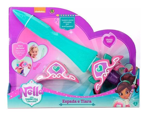 Brinquedo Nella Princesa Corajosa Espada Tiara Som E Luz Dtc