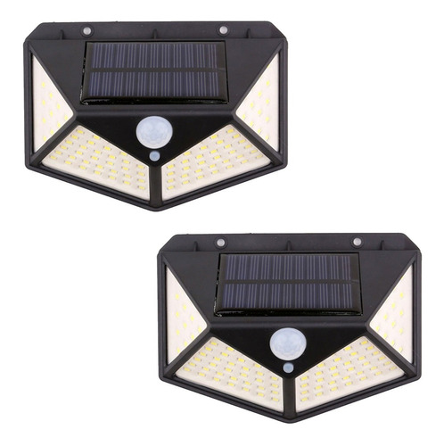 Reflector Led X2 Panel Solar Sensor Movimiento 100 Leds