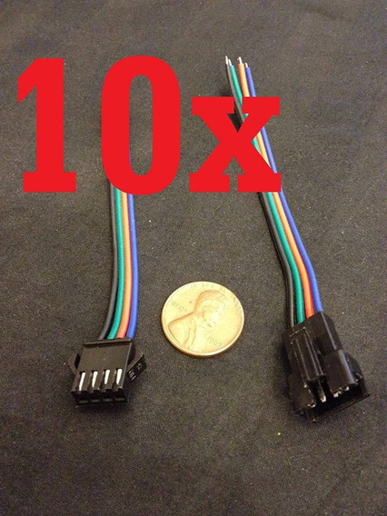 10 Set Jst 4 Pin Male Female Rgb Connector Wire Cable 3528 5
