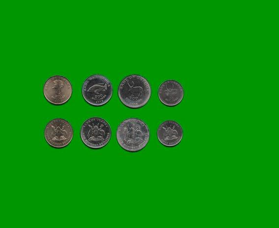 Uganda Serie De 4 Monedas, 50, 100, 200, 500 Shilling,-