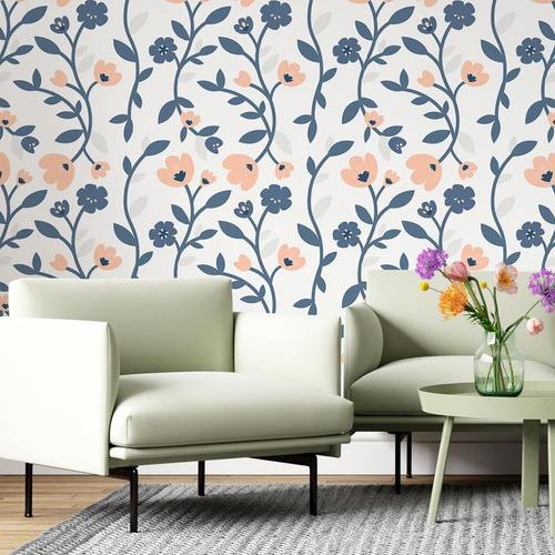 Imagem 1 de 5 de Papel De Parede Adesivo Floral Azul E Rosa N06185 Rolo De 0,