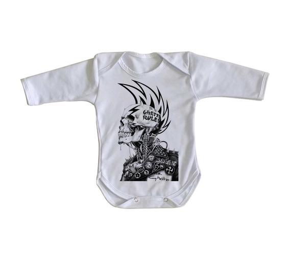 Body Criança Roupa Bebê Caveira Guetto Rules Regras Punk