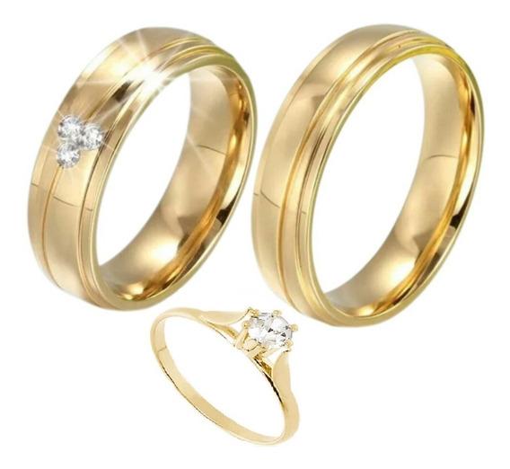 Par De Alianças 3 Banhos Casamento E Noivado+anel Solitario