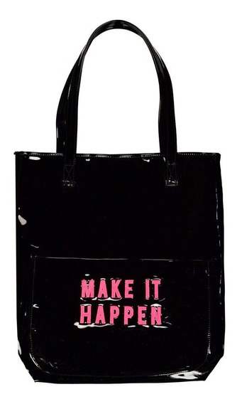 Bolso Make It Happen (charol Negro & Bordado Fucsia)