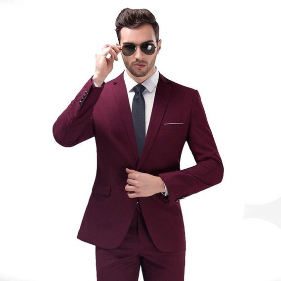 Terno Slim Vinho - Paletó+calça+brinde- Promoção Outubro