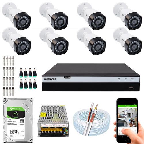Kit Cftv 8 Cameras Segurança Vhd 1220b 2m Intelbras Dvr 3116