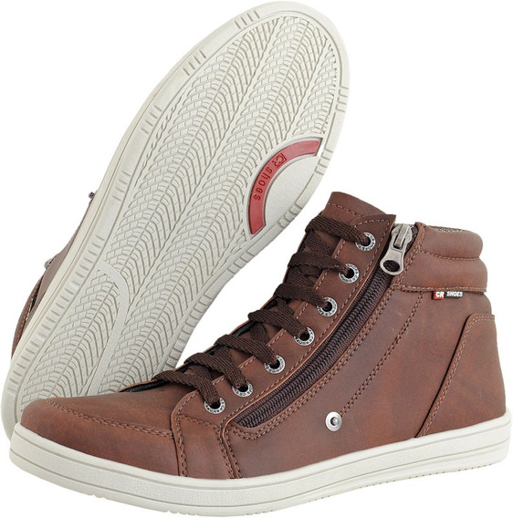 Sapatenis Sapato Masculino Cano Curto Ziper Fácil De Calçar