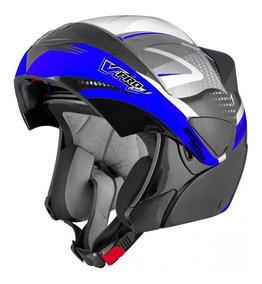Capacete Escamotiavel Motocicle Moto Vpro Jet2 Carbon Preto