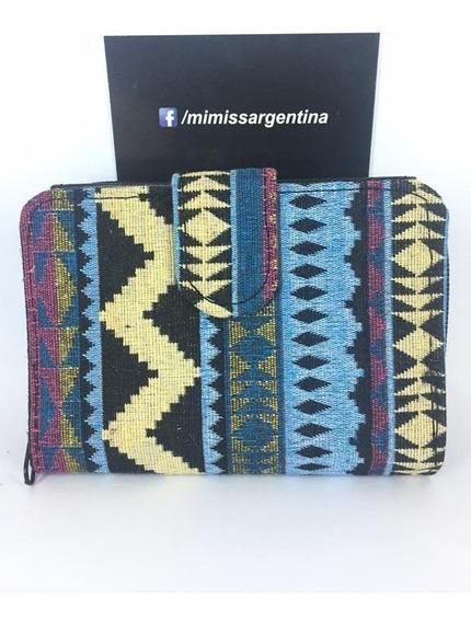 Billetera Mimiss De Tela Diseño Etnico X 12u