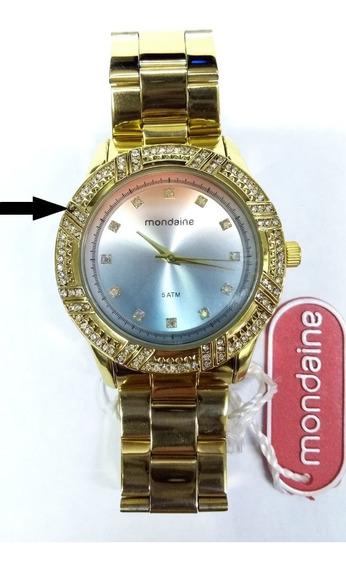 Relógio Mondaine Feminino Dourado 76570lpmvde2 Strass Vltrin