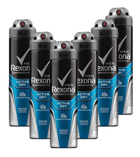 Kit 6 Desodorante Rexona Men Antitranspirante Active 150ml