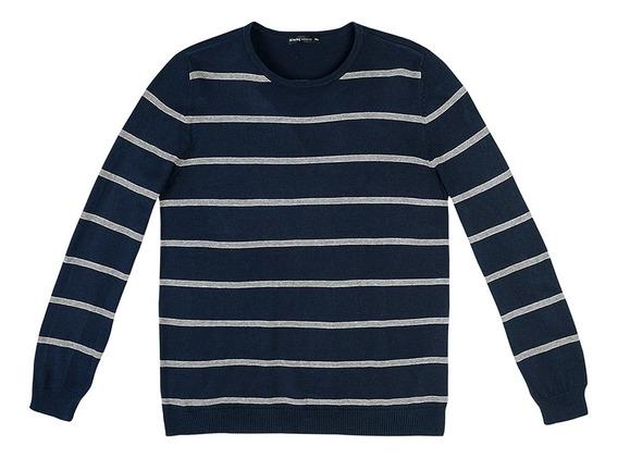 Blusão Masculino Básico Listrado Em Tricô De Algodão Hering