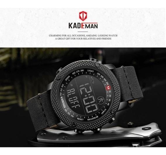 Relógio Masculino Digital Esportivo De Couro Kademan Preto