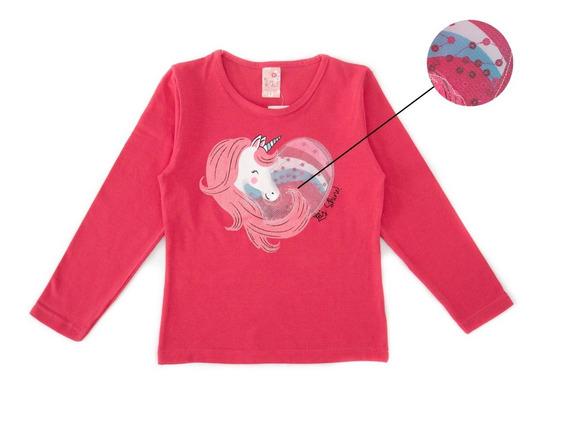 Kit 5 Camisetas Blusa Manga Longa Infantil Menina Cotton