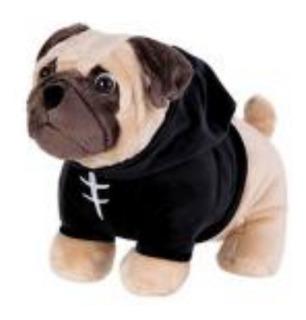 Cachorro Pug Sudadera Negra Peluche Ultrasuave Miniso
