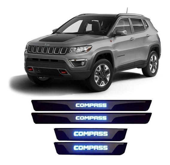 Soleira Jeep Compass 2017 2018 2019 Led Protetor Aço Inox