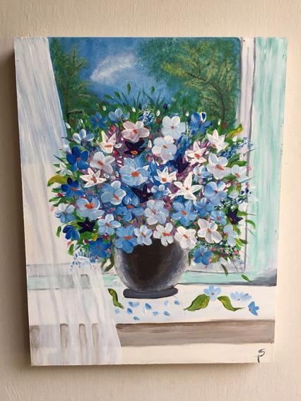 Cuado Con Flores Azules. Acrílico. Medidas 30cm X 40 Cm