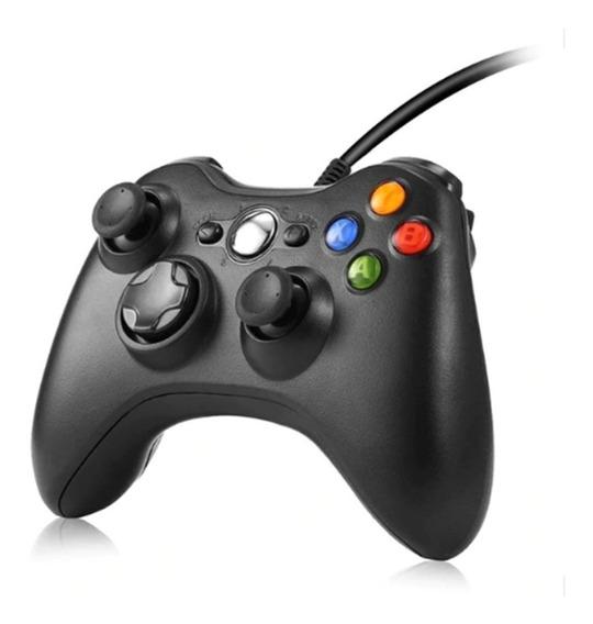 Controle Com Fio Xbox 360 Pc Jogos Slim Joystick Box Tv+nf